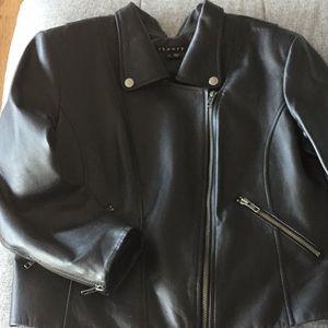 Theory Black Leather motorcycle jacket, size 12